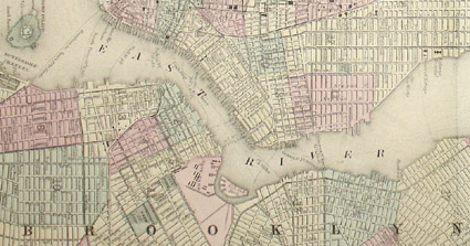 Map  New York City  Brooklyn  Augustus Mitchell  Antique c  1867 to     Map  New York and Brooklyn