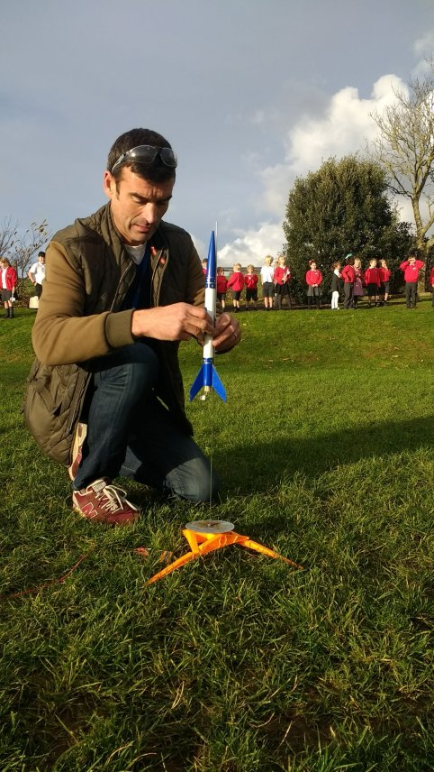 Nick, setting up the dynamite powered rocket.