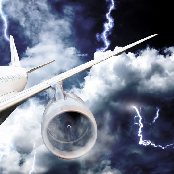 15223102 - airplane crash in a storm with lightning concept  accident airplane in the sky  emergency landing  flights in bad weather