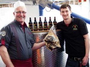 Butcher George Payne is pictured left with Allendale Brewery manager Neil Thomas.