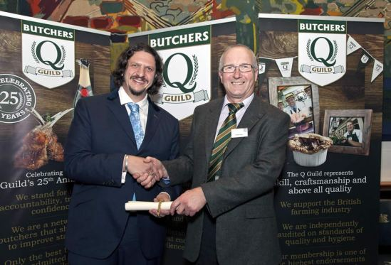 Butcher George Payne, right, is pictured at the Smithfield Awards with Jay Rayner.