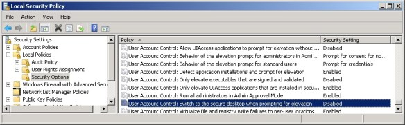 Disabling the Secure Desktop prompt via Local Security Policy.