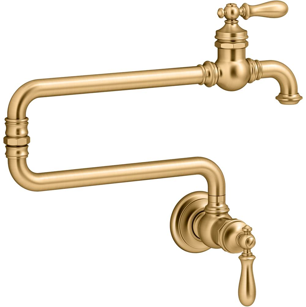 kohler pot filler faucets brass tones
