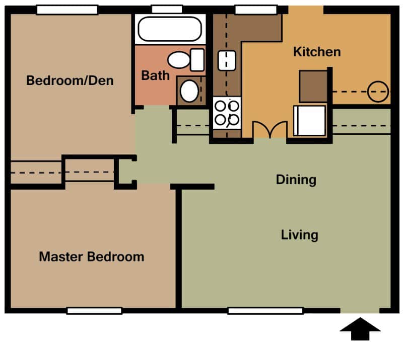 2 Bed   1 Bath   700 sq ft   Rent   670   Security Deposit. Floor Plans   Georgetown Villas Apartments