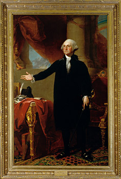 George Washington (Lansdowne portrait) by Gilbert Stuart, oil on canvas, 1796