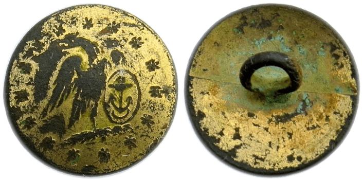 1810-30's US Navy 14.84mm Gilt Brass _Convex_ Cuff Similar to Albert's NA 52 15 Star Orig Shanks Dug on St. Simons Island, Georgia georgewashingtoninauguralbuttons.com O