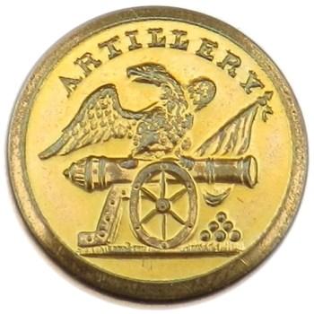 1830-40's Artillery Militia Brass 22mm. AY 59-A Unlist. Variant rj silverstein's georgewashingtoninauguralbuttons.com O