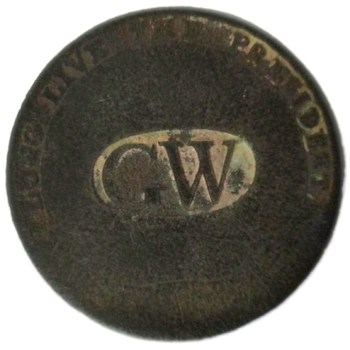 GWI 11-A 34mm Brass Dug Farmers Field Marshall, NY RJ Silverstein georgewashingtoninauguralbuttons.com O