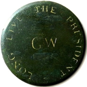 GWI 8-A THE PLAIN ROMAN GW MONOGRAM CENTER 36MM COPPER ORIG. SHANK RJ Silverstein's georgewashingtoninauguralbutton.com o