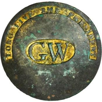 WI 11-A Brass 34mm Gilt Brass 93.9 Grains Bent Shank Brown & Green Stacks Auctions March 2013 $0000 georgewashingtoninauguralbuttons.com A-43