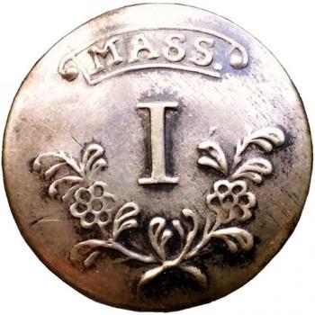1775 MS 1.A 22MM SILVER :BONE BACK RJ SILVERSTEINS GEORGEWASHINGTONINAUGURALBUTTONS.COM O