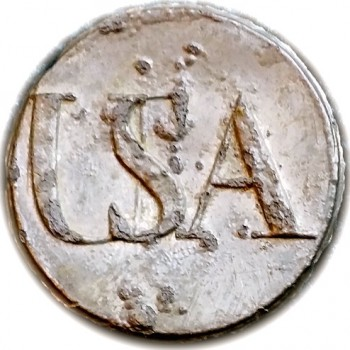 1780's French USA button 27mm tinned Orig Shank georgewashingtoninauguralbuttons.com O