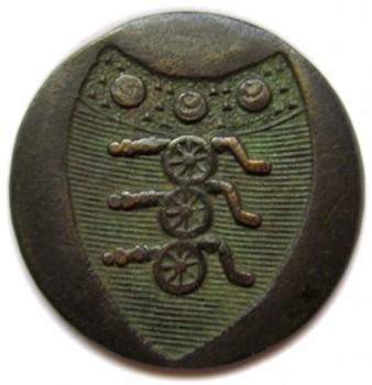 1783 British Artillery 25mm brass orig shank non excav. RJ georgewashingtoninauguralbuttons.com O