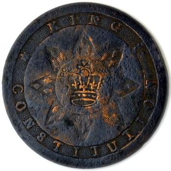 1789 Tory or Loyalish Long Live the King 30mm Copper Sun Burst W- Crown Repaird ShankLTTK-9