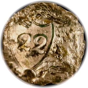 1812-15 Federal Infantry Button 22nd Regiment 22mm RV 50 RJ Silverstein's georgewashingtoninauguralbuttons.com O