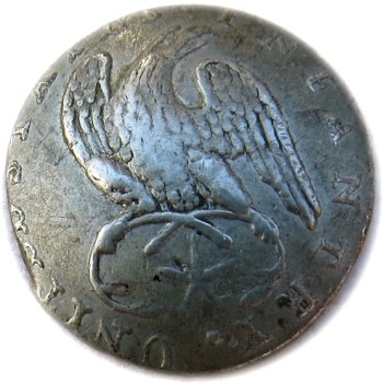 1812-15 U.S. Infantry officer's Convex Pewter W: Iron Shank 19.45mm Orig Shank RJ Silversteins georgewashingtoninauguralbuttons.com O