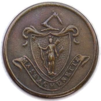 1820's Massachusetts Militia 22.36mm Gilt brass MS110B.1 - MS 27 Orig Shank RJ Silversteins georgewashingtoninauguralbuttons.com O