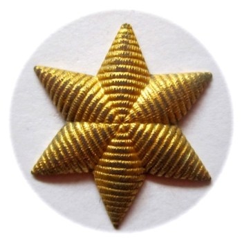 1830-40'S U.S. DRAGOON's OFFICER STAR INSIGNIA GILDED BRASS EMBROIDERED LOOK SIX POINTED STAR rj silverstein's georgewashingtoninauguralbuttons.com o