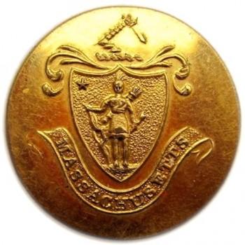 1830'S MASSACHUSETTS MILLITIA 22MM GILDED BRASS MS200A.1 RJ SILVERSTEINS GEORGEWASHINGTONINAUGURALBUTTONS.COM O