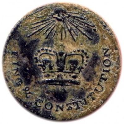 King & Constitution 20mm Silvered Mason Eye Brass Robert Silverstein georgewashingtoninauguralbuttons.com O