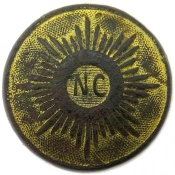 NORTH CAROLINA MILITIA 1860 22MM GILDED BRASS ORIG SHANK ALBERT'S NC 14-A : TICE'S NC 233-A.1 RV 50 PD $650.00 4-21-13 O
