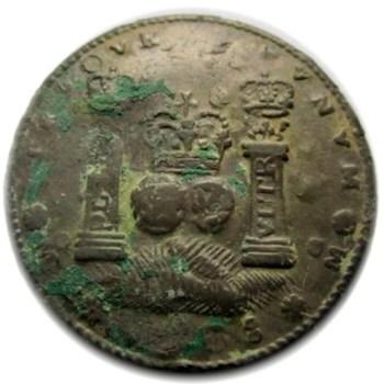 1758 Spanish Coin Converted to a button 27.5mm pewter dales georgewashingtoninauguralbutton.com O