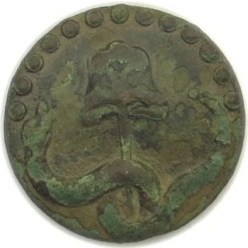 1770's Rattle Snake Button 23.71mm Copper Stike Threw RJ Silversteins georgewashingtoninauguralbuttons.com