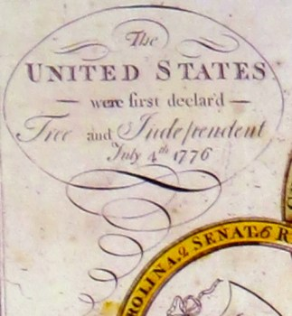 Amos Doolittle A Display of the United States of America FREE & INDEPENDENT CARTOUCHE O