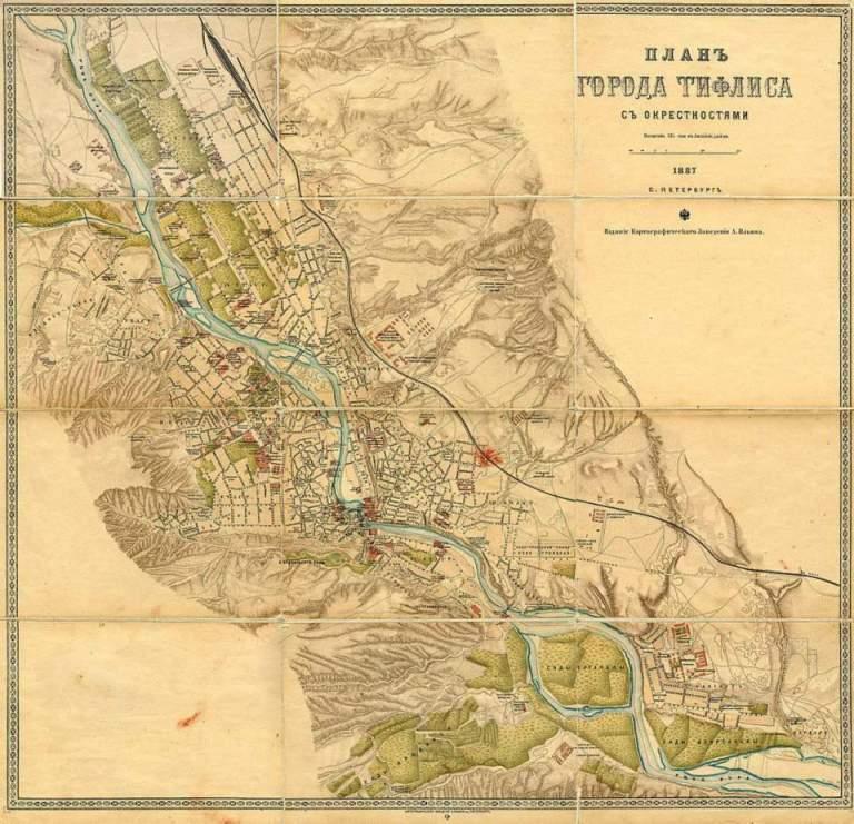 Map of Tiflis published in Saint Petersburg in 1887
