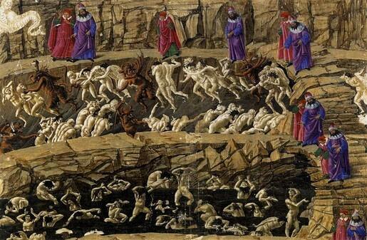Inferno – Ilustrație de Sandro Botticelli (wikipedia)
