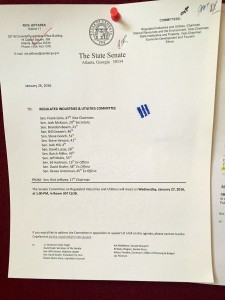The official notice for Wednesday's Reguated Industries Committee meeting,