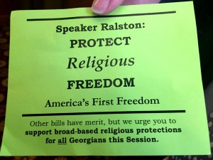 In his speech from the well, Speaker Ralston said that this card mischaracterizes the entire discussion being conducted over religious freedom.