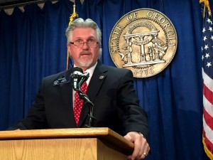Senator Greg Kirk explains why the Free Exercise Act should be signed by Governor Deal. Photo: Jon Richards