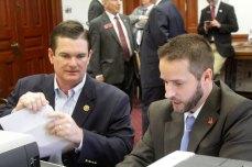 Georgia GOP Executive Director Adam Pipkin helps 8th District Congressman Austin Scott qualify.