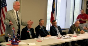 Dr. Paul Broun speaks at the 9th District debate, which also include (L-R0 Mike Scupin, Robert Fitzpatrick, Rep. Doug Collins and Bernie Fontaine.  Photo: Jon Richards