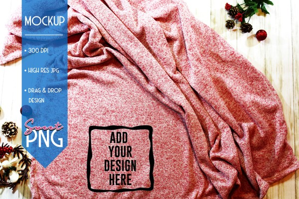 Red Fleece Blanket Mockup 1