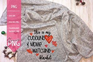 This Is My Cuddling and Movie Watching Blanket Mockup Hearts
