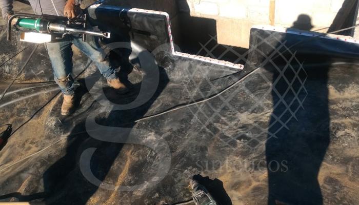 Segunda olla que se encuentra en el #Atltzayanca. #Recubrimiento con #geomembrana de 1mm en color negro.