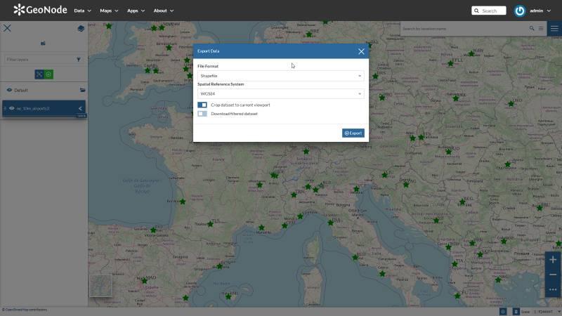Data download in GeoNode