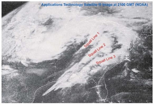 Doskonale widoczne trzy pasma konwekcyjne, które wytworzyły 147 tornad podczas Super Outbreak 1974