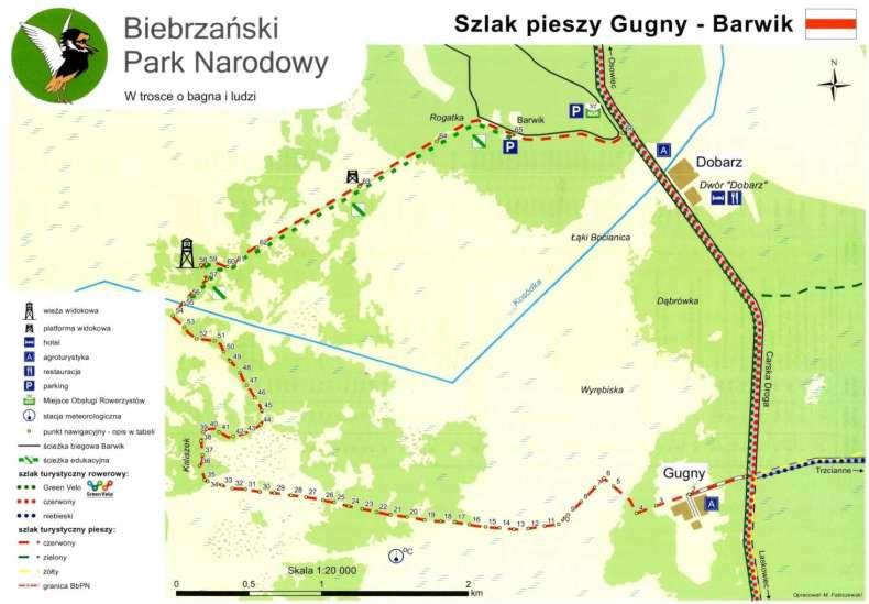 Szlak Gugny-Barwik wraz z oznaczeniami kolejnych tyczek.