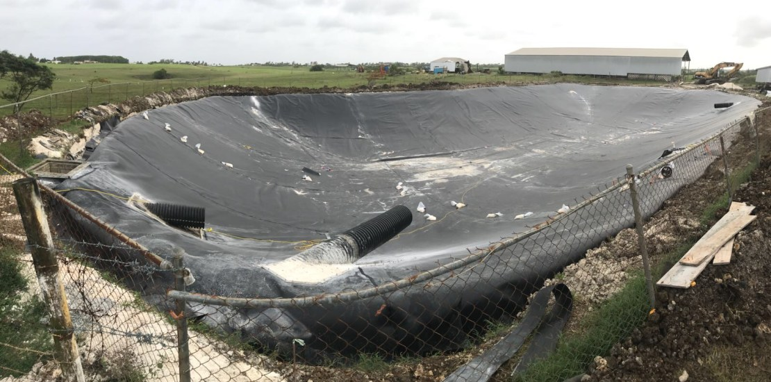 Large Pond Liners application completed in Barbados