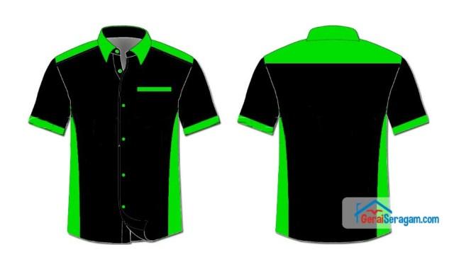 desain kemeja hijau hitam
