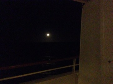This was the full moon from our balcony en route to Montevideo.