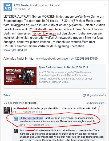 Sreenshoot PeTA Deutschland Facebook Seite