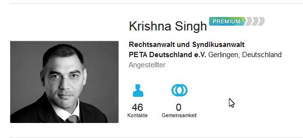 Rechtsanwalt Krishna Singh arbeit als Angestelter bei PeTA