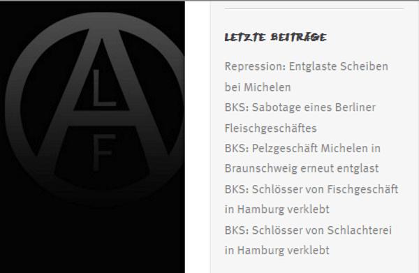 Dann noch die letzten Ruhmes Artikel die sich Tierschützer auf die Fahnen schreiben. Screenshoot deutsche ALF -Seite