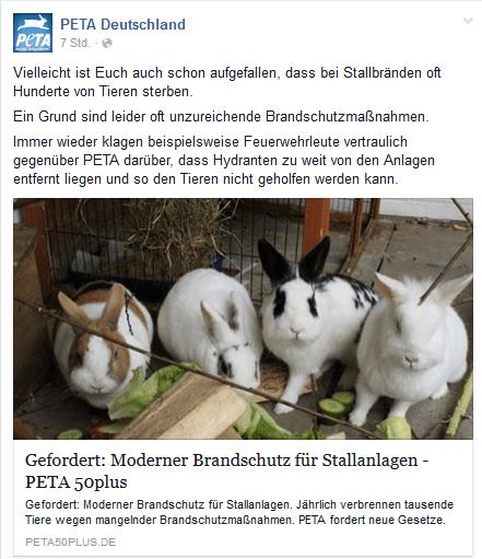 Screenshot Facebook Seite PeTA Deutschland e.V.