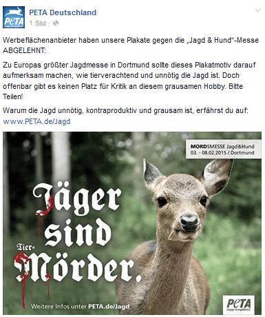 Wieder versuchte PeTA Deutschland e.V. die Würde des Menshcen zu verletzen!