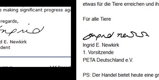 Rechts: Unterschrift PeTA USA / Links: Unterschrift PeTA Deutschland